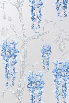Image of Wallpaper - Wisteria - Silver Blue