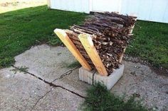 40 Ways To Use Cinder Blocks At Home . Use cinder blocks as an impromptu firewood storage solution. Simply place some long two by fours on either side of two cinder block placed side-by-side, and stack your firewood in between them. Backyard Projects, Outdoor Projects, Garden Projects, Diy Projects, Outdoor Crafts, Backyard Designs, Project Ideas, Garden Tools, Outdoor Firewood Rack