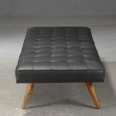 Upholstery Leather Daybed with Wooden Legs Black Color by Second May Best Storage Beds, Bed Storage, Leather Daybed, Night And Day Furniture, Folding Beds, Wooden Leg, Space Saving Furniture, Adjustable Beds, Tufting Buttons