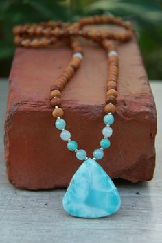 EXCLUSIVE Natural Larimar Sandalwood Mala One of a kind