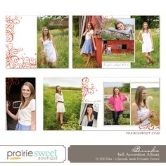 Brooke 4×8 Accordion Album for Senior Girls, Baby or Families - Photoshop Templates for Photographers - Prairie Sweet Boutique