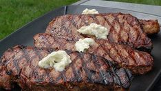 New York Strip Steaks with Blue Cheese Butter: This recipe gives you the basis for making compound butters, so you can add another dimension to your food. Now what does blue cheese butter do for a New York strip steak? Steak Recipes, Grilling Recipes, Cooking Recipes, Beef Dishes, Food Dishes, Main Dishes, New York Strip Steak, Blue Cheese Butter, Steak With Blue Cheese