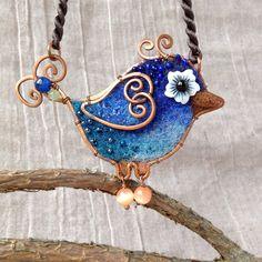 Blue Bird / Copper Wool Cat Eyes Stones / by PuntikvaStore on Etsy