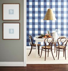 Gingham: painters tape and three shades of blue to achieve the look
