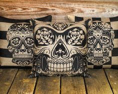 Sugar Skull Pillow Plush Skull Pillow Day of the by TheWatsonShop