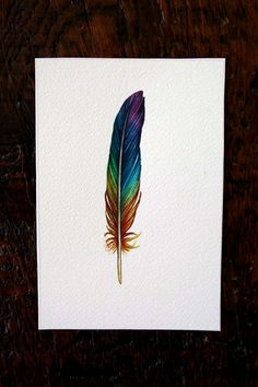 Rainbow Feather Original Watercolor Painting by jodyvanB on Etsy