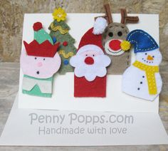 Christmas felt finger puppets Father Christmas Elf by PennyPopps, €10.00