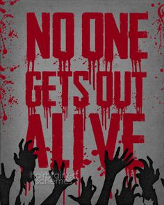 Halloween Zombie Typographic Poster Decor by hairbrainedschemes