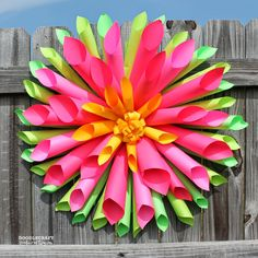DIY Spring Dahlia Wreath and Astrobrights Papers!!! Bebe'!!! Cute for Spring or Summer!!!