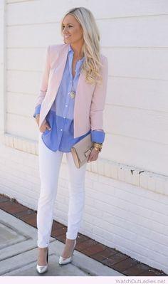 White pants, blue shirt and light pink blazer