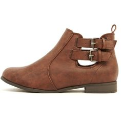 Isla Brown PU Cut Out Ankle Boots (€12) ❤ liked on Polyvore featuring shoes…