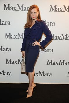 Amy Adams in Max Mara ink blue trench dress.