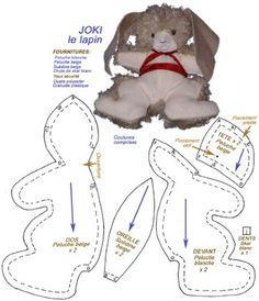 Joki et son patron: Sewing Stuffed Animals, Plush Pattern, Doll Patterns, Sewing Hacks, Animals And Pets, Doll Clothes, Rabbit, Bunny, Teddy Bear