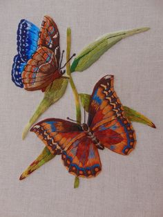 Needle painting by Marie Floral Embroidery Patterns, Butterfly Embroidery, Embroidery Sampler, Embroidery Works, Machine Embroidery Patterns, Ribbon Embroidery, Cross Stitch Embroidery, Butterfly Quilt, Butterfly Painting
