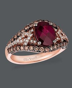 Le Vian 14k Rose Gold Ring, Garnet (1-3/4 ct. t.w.), Chocolate Diamond (5/8 ct. t.w.) and White Diamond (1/4 ct. t.w.) Oval - Rings - Jewelry & Watches - Macy's