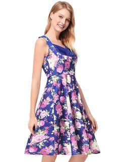 2018 Summer Robes Retro Floral Printed Tunic Rockabilly Dress jurken 50s  60s Swing Women Midi party Vintage Dresses 8cdf65008c04
