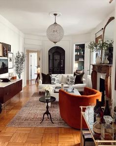 Living Room Interior, Home Living Room, Living Room Decor, Living Spaces, Vintage Modern Living Room, Modern Vintage Decor, Small Living, Estilo Interior, Decoration Inspiration