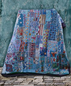 Fabulous Fair Trade Pale Blue and Teal Handmade Gujarat Antique Patchwork Tapestry Bedspread.  A combination of recycled antique saris and wedding gowns sewn with Zardosi embroidery, Kutch crochet, and Gujarati mirror, jewel and sequin work.