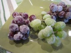 sugared grapes clusters, whole cranberries, key limes, edible flowers such as Johnny-Jump-Ups, rose petals, to garnish recipes