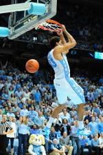 James Michael McAdoo (43) throws down a reverse dunk during the North Carolina Tar Heels vs. NC State Wolfpack NCAA basketball game, Saturday, February 23, 2013 in Chapel Hill, NC.