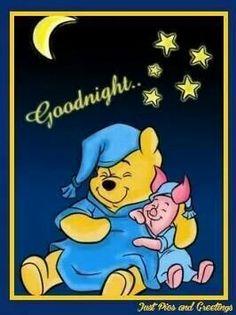 Milne's Winnie the Pooh and Piglet Good Night Greetings, Good Night Messages, Good Night Wishes, Good Night Quotes, Winnie The Pooh Pictures, Cute Winnie The Pooh, Winnie The Pooh Quotes, Cute Good Night, Good Night Sweet Dreams