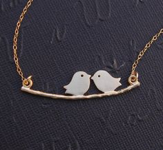 Kissing Love birds Necklace Gold Filled by DanglingJewelry on Etsy