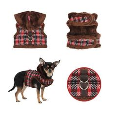 4 views of Dashing Pinka Checkered Houndstooth Plaid Hooded Winter Harness Vest/Jacket in color Brown Multi