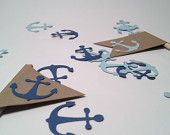 Anchor cutouts for nautical weddings, nautical baby showers, or themed birthday parties. By Today is a Sunny Day. www.todayisasunnyday.etsy.com