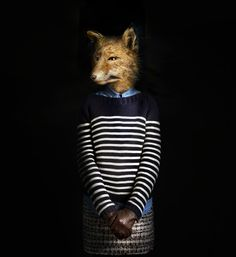Cultura Inquieta - Animals Dressed In Clothes Animals Dressed In ClothesAnimals Dressed In Clothes That Fit Them Like a Second Skin Madrid-based advertising and industrial photographer Miguel Vallinas presents a fashion photo series, titled Second Skin Colossal Art, Art Brut, Photocollage, Tier Fotos, Foto Art, Animal Heads, Fox Animal, Like Animals, Photo Series