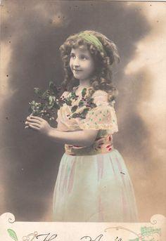 Vintage Romantic Children French postcard.  by ParisBookandPaper