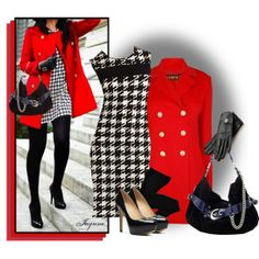 """""""'Be Mine' VI"""" by ladyjaynne on Polyvore #houndstooth #dress #red #blackandwhite #pumps #valentine #love #polyvore #GetTheLook #fashion #style"""