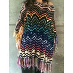 Poncho missoni da GabiHess Missoni, Tie Dye Skirt, Dresses With Sleeves, Knitting, Crochet, Long Sleeve, Skirts, Winter, Fashion