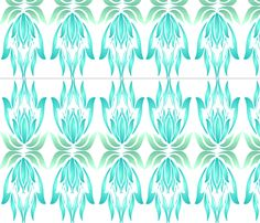 Coastal Lotus Deco Wallpaper fabric by margaretjuuldecor on Spoonflower - custom fabric