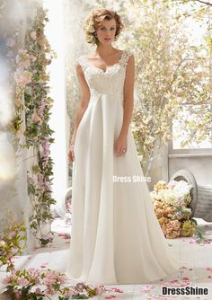 A line V Neck Sweep Train Lace Chiffon Dress Detachable Back Cowl - Wedding Dresses - Weddings