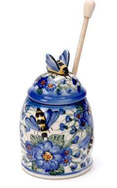 #LSASummerEntertaining Blue Bee Honey Pot - serve food in pretty containers to make it special.