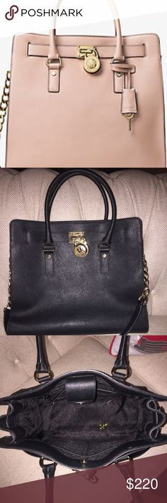 Michael kors Hamilton large saffiano leather tote Black with gold accessories carried only 4 times!! Perfect condition Michael Kors Bags Totes