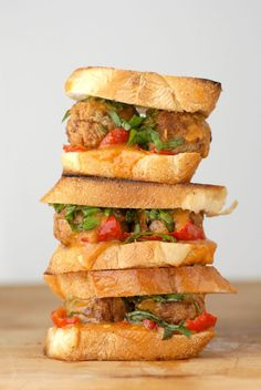 These curried meatball sliders with cherry peppers and Thai basil are the perfect tasty appetizer for game day and you can even set up a DIY bar. Cheese Stuffed Meatballs, Mini Meatballs, Turkey Meatballs, Meat Sandwich, Sandwich Recipes, Meatball Sliders, Meatball Sandwiches, Slider Sandwiches, Thai Basil