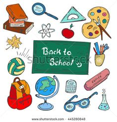"""Colorful """"Back to school"""" hand-drawn doodle set on white background. Multicolored vector illustrations of school supplies. Icons for classrooms, websites and mobile."""