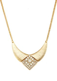 OLIVIA WELLES Textured Crystal Detailed Crescent Necklace | ideel