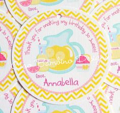 Set of 12 Personalized  Pink Lemonade Birthday Party Favor Tags with Chevron on Etsy, $6.00