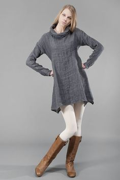 Gray linen tunic pure linen linen dress mini by HomeOfNature