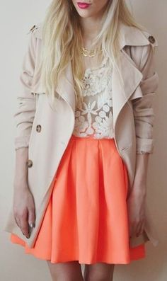 Skirt, blouse, and long off.white belted coat
