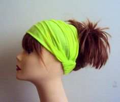 Fluorescent Neon Lime Green Yoga Headband Elastic Back Wide Cotton Headband Dreadlock Headband Fitness Headband Festival Headband