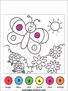 French color-by-number pages Kindergarten Handwriting, Preschool Writing, Preschool Learning Activities, Summer Activities For Kids, Art Worksheets, Worksheets For Kids, Drawing For Kids, Painting For Kids, Coloring For Kids