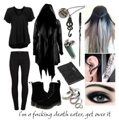 """""""Death Eater"""" by skyswetay-2000 ❤ liked on Polyvore featuring ...Lost, Free People, J Brand and Dr. Martens"""