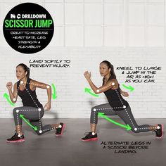 Scissor Jump (Great to increase heart rate, leg strength, and flexibility) I HATE THESE but LOVE what they do for me!!