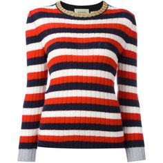 Gucci striped jumper ($1,200) ❤ liked on Polyvore featuring tops, sweaters, blusas, red, red striped sweater, red stripe sweater, striped jumper, round neck sweater and red sweater