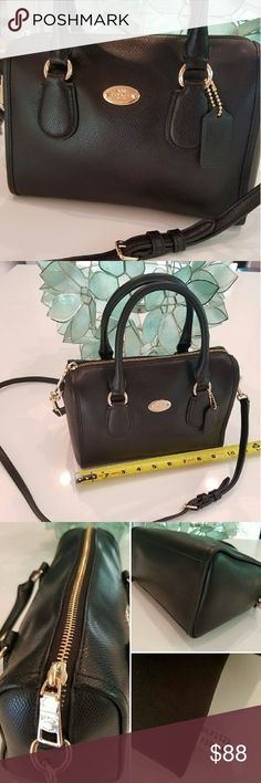 "COACH Mini Bennett Crossbody in Black LeatherHP! LIKE NEW! Coach mini Bennett hipster from 2015! Barely used, looks new! Gold tone hardware; black fabric interior in excellent condition - NO rips, NO tears, NO stains! Exterior in excellent condition - NO scuffs, NO stains, NO peeling. About 10"" across, 7"" tall,  4"" handle drop, 22"" shoulder strap drop which is adjustable. Coach No. F1521 F33329 HOST PICK 6/13 Office Style Party! Coach Bags"