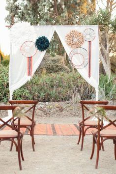bohemian wedding ceremony, photo by Olivia Smartt Photography http://ruffledblog.com/bohemian-desert-wedding-with-mid-century-influence #desertwedding #boho