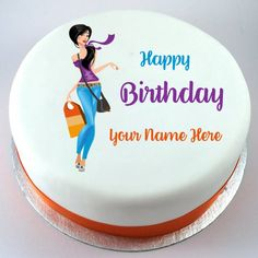 Happy Birthday Cake For Girlfriend With Your NameName GirlCustomized Round Custom NamePrint Name On Trendy Girl Picture